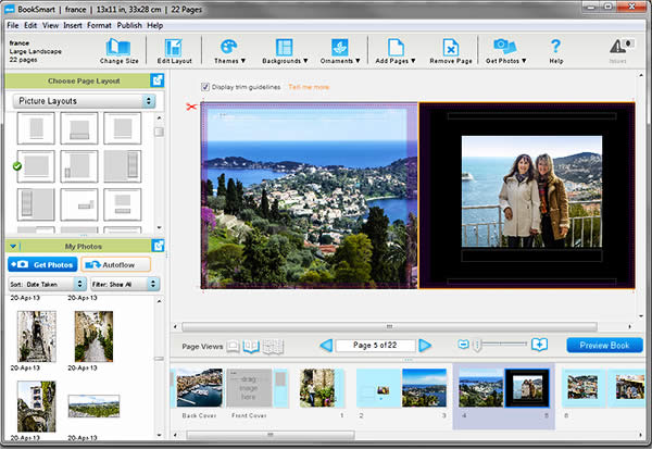 Blurb Booksmart is free software you can download to create a custom photo book.