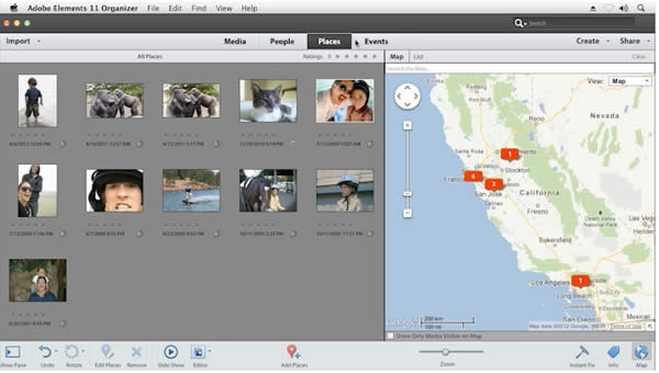 Geo-mapping lets you pin images to a Google map.