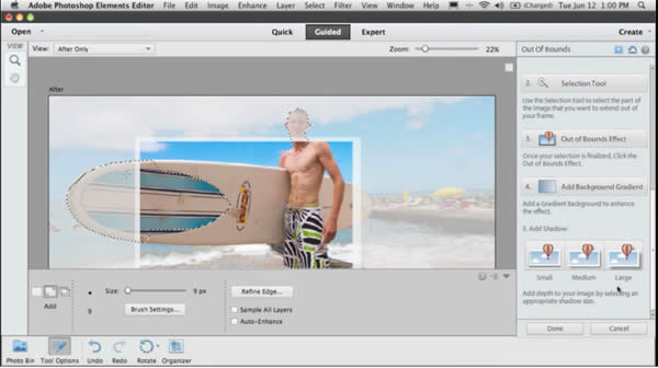 Photoshop Elements 11's Guide Mode walks you through complex tasks.