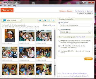 Shutterfly Express Uploader uploads images up to 4x faster