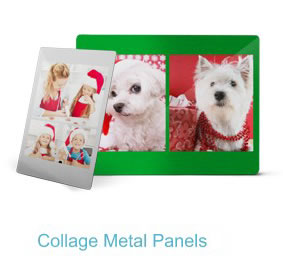 Wall art includes canvas prints, metal panels and collage panels